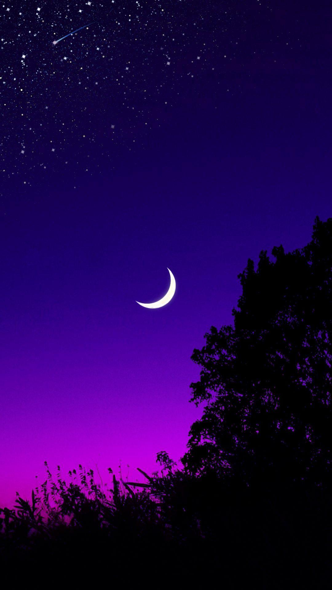Download wallpaper 1080x1920 moon, tree, starry sky, night, stars, dark samsung galaxy s4, s5, note, sony xperia z, z1, z2, z3, htc one, lenovo vibe hd background