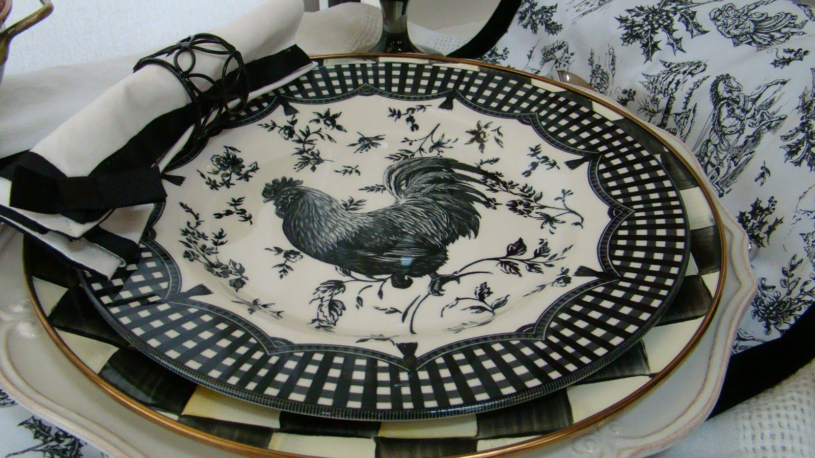 MacKenzie-Childs Courtly Check, and Rooster plates.
