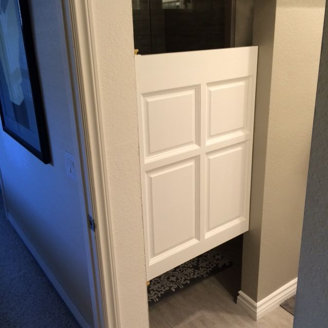 Single Swinging Poplar Cafe Door Used In A Bathroom