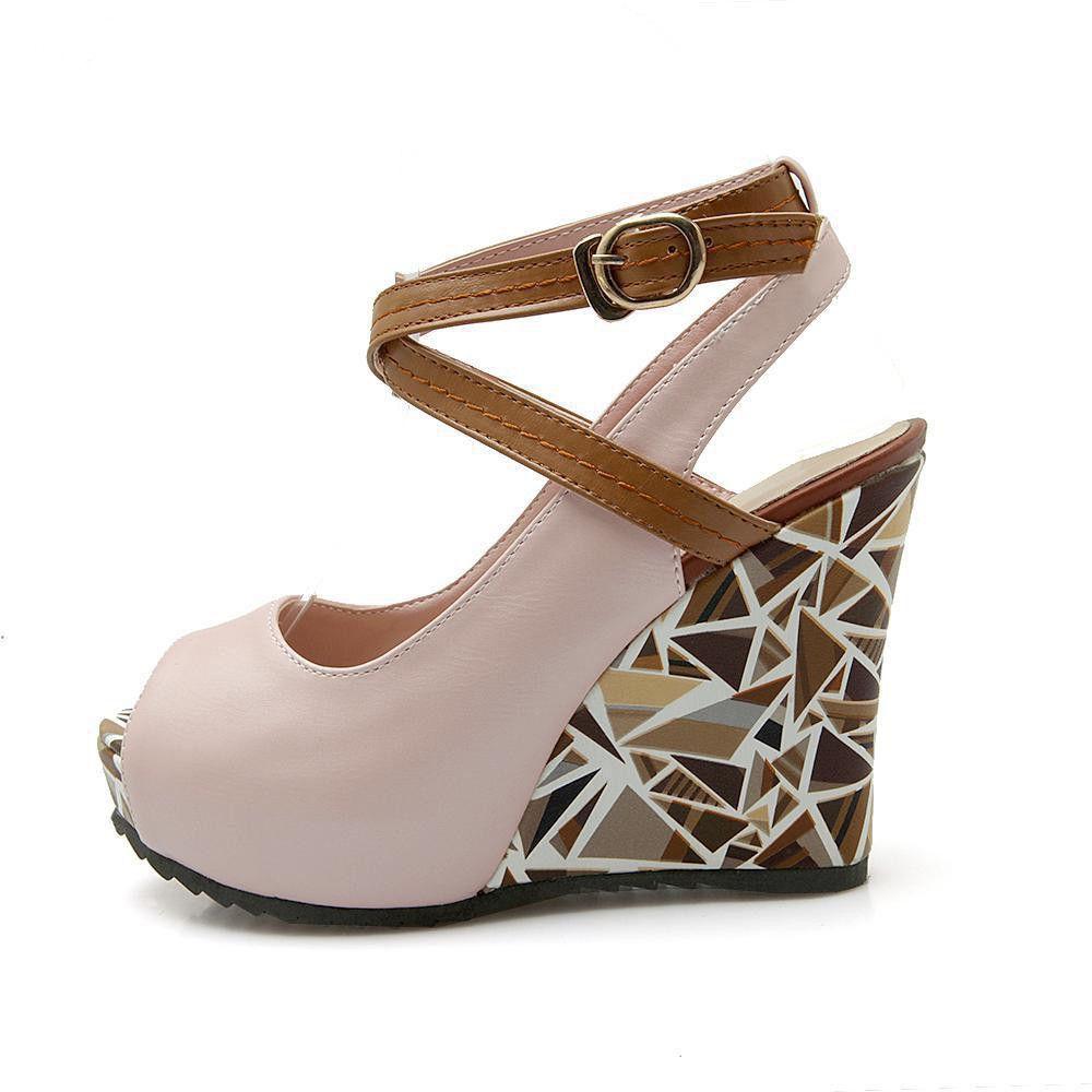 9f2da356149d Roman Bohemian High Heel Peep Toe Crossed Strap Wedge    Up to Size US 12