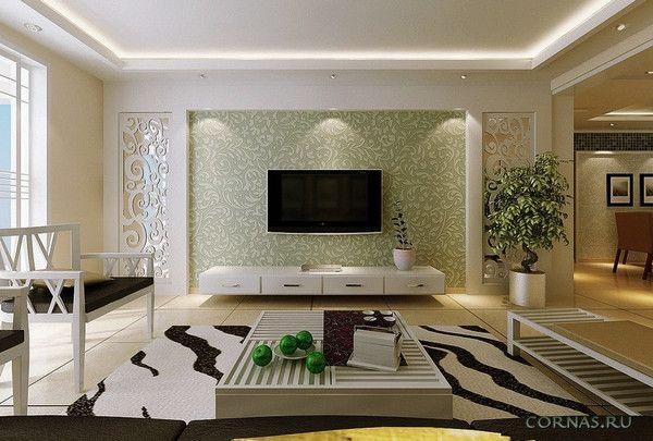 Комбинирование обоев в гостиной: идеи фото | Дизайн ...
