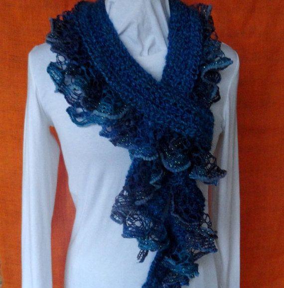 Crochet with bulky wt blue yarn edge is ruffle yarn