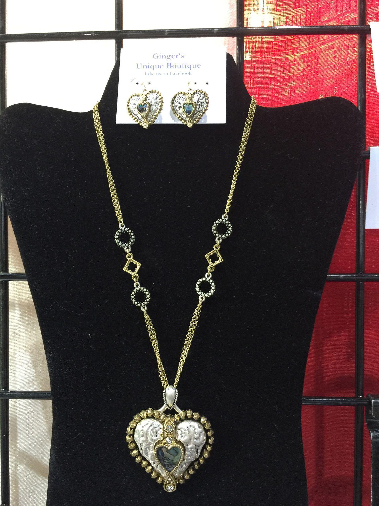 Heart necklace set gingers unique boutique gingersunique