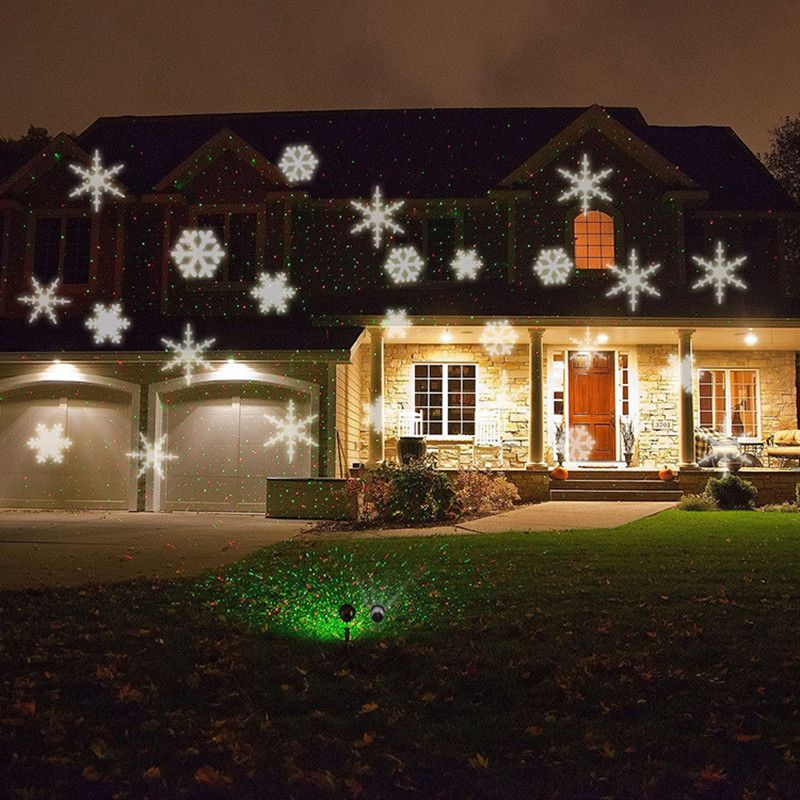 Waterproof Moving Snow Laser Projector Lamps Snowflake LED Stage