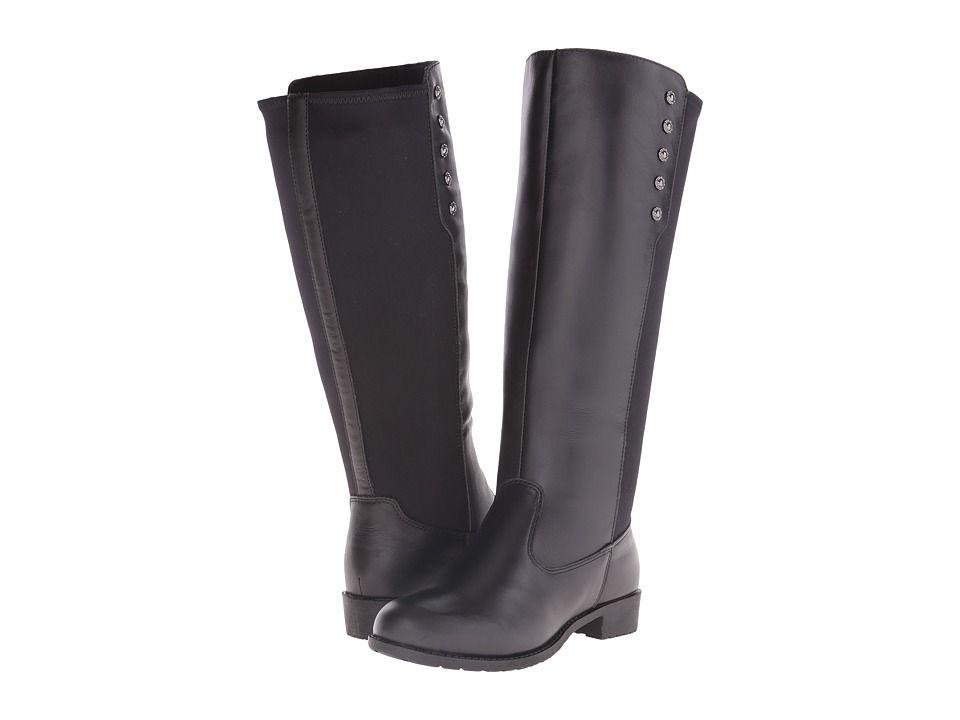7da031d00170b0 Propet Charlotte (Wide Calf) Women s Shoes Black Black Suede