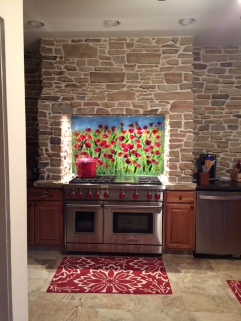 Ordinaire Red Poppy Kitchen Backsplash | Designer Glass Mosaics|Designer Glass Mosaics