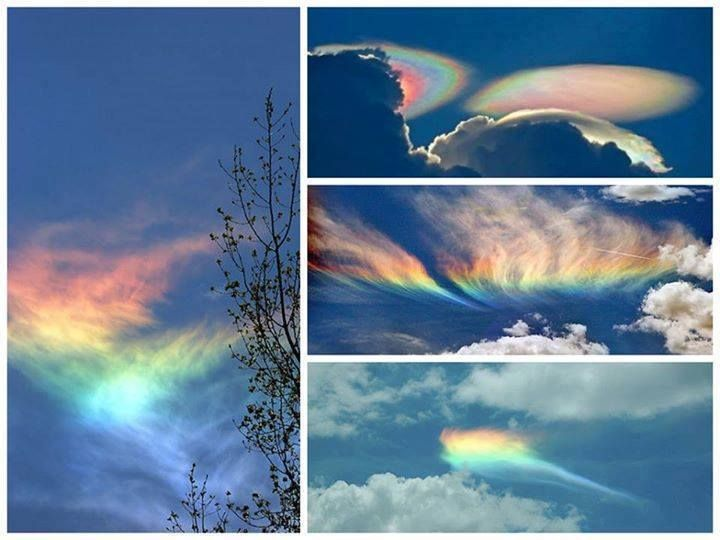 Fire rainbows - or 'circumhorizontal arcs' - are super rare, and only occur when the Sun is higher than 58° above the horizon and its light passes through cirrus clouds made of ice crystals.  -  Images: (L) Ken Rotberg (R) UC Santa Barbara Geography