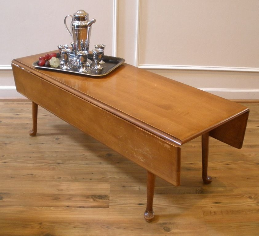 Use A Vintage Drop Leaf Coffee Table But With A Custom Base So It Can Be Raised For Dining C S