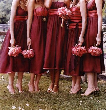 Dark Red Bridesmaid Dresses Just Change The Flowers To Red Orange And Yellow Wi Red Bridesmaid Dresses Fall Fall Bridesmaid Dresses Different Wedding Dresses