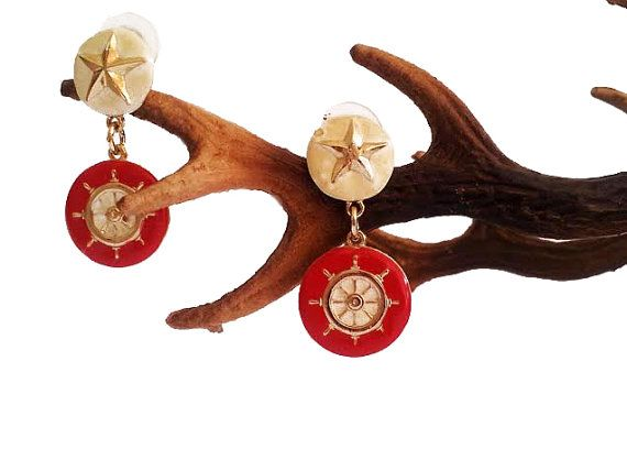 Vintage Red Sailor Earrings  Nautical Jewelry  Wheel by GoldDa, $13.00