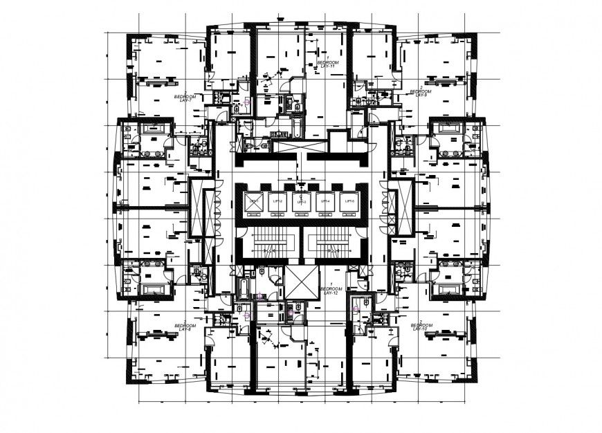 Floor Distribution Layout Plan Of Apartment Building With Furniture Layout Dwg File Residential Apartments Apartment Building Autocad