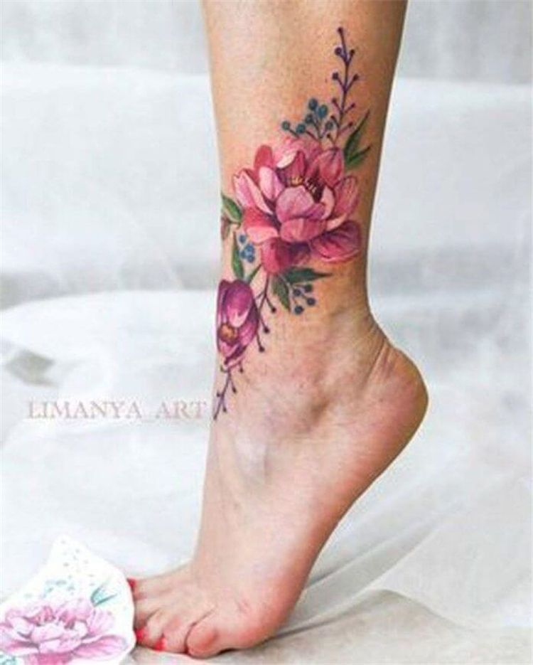 40 Gorgeous And Stunning Ankle Floral Tattoo Ideas For Your Inspiration - Page 32 of 40 - Women Fashion Lifestyle Blog Shinecoco.com #style #shopping #styles #outfit #pretty #girl #girls #beauty #beautiful #me #cute #stylish #photooftheday #swag #dress #shoes #diy #design #fashion #Tattoo