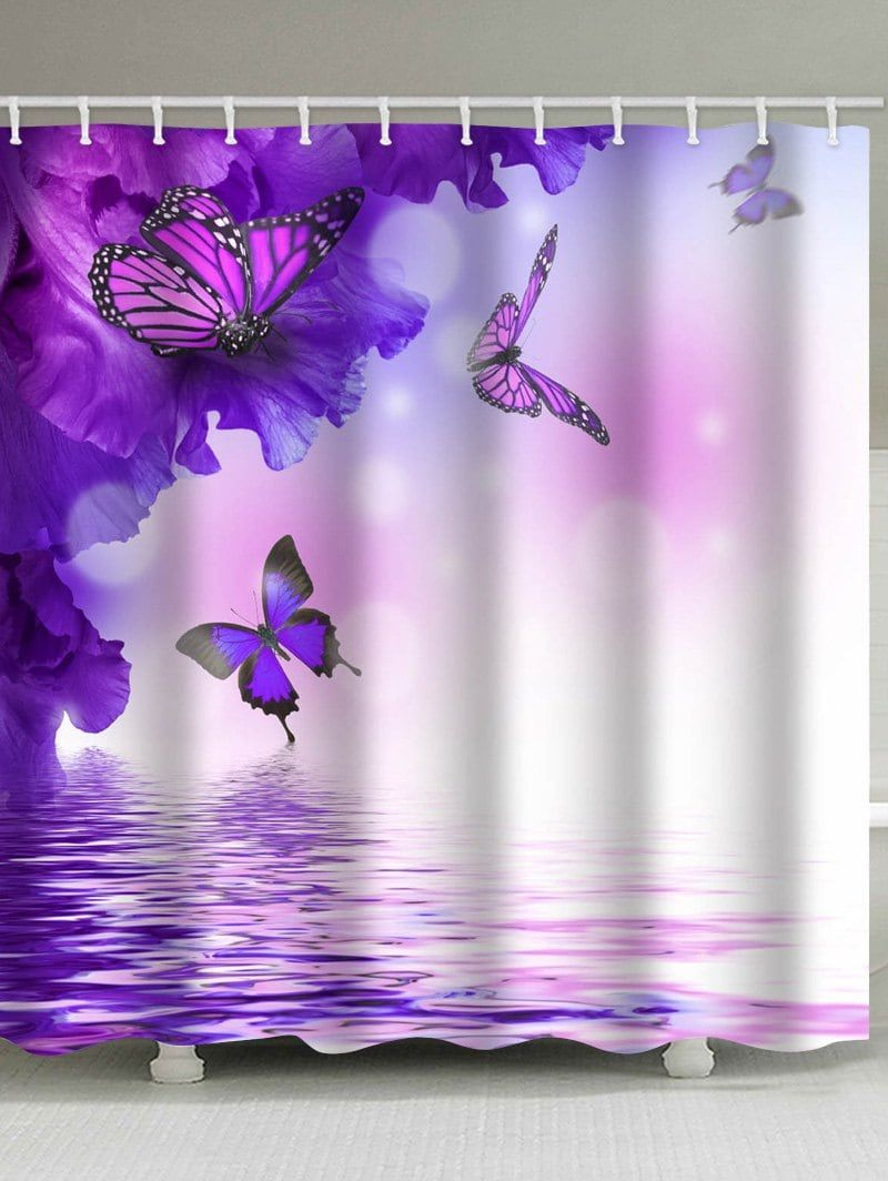 Flowers And Flying Butterflies On The Water Printed Bath Decor