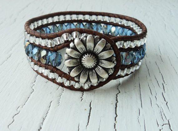 Cuero Wrap brazalete pulsera, brazalete azul zafiro, Daisy muñeca brazalete, pulsera de cuero abrigo, vaquera pun ¢ o, joyería occidental del país, Bohemia