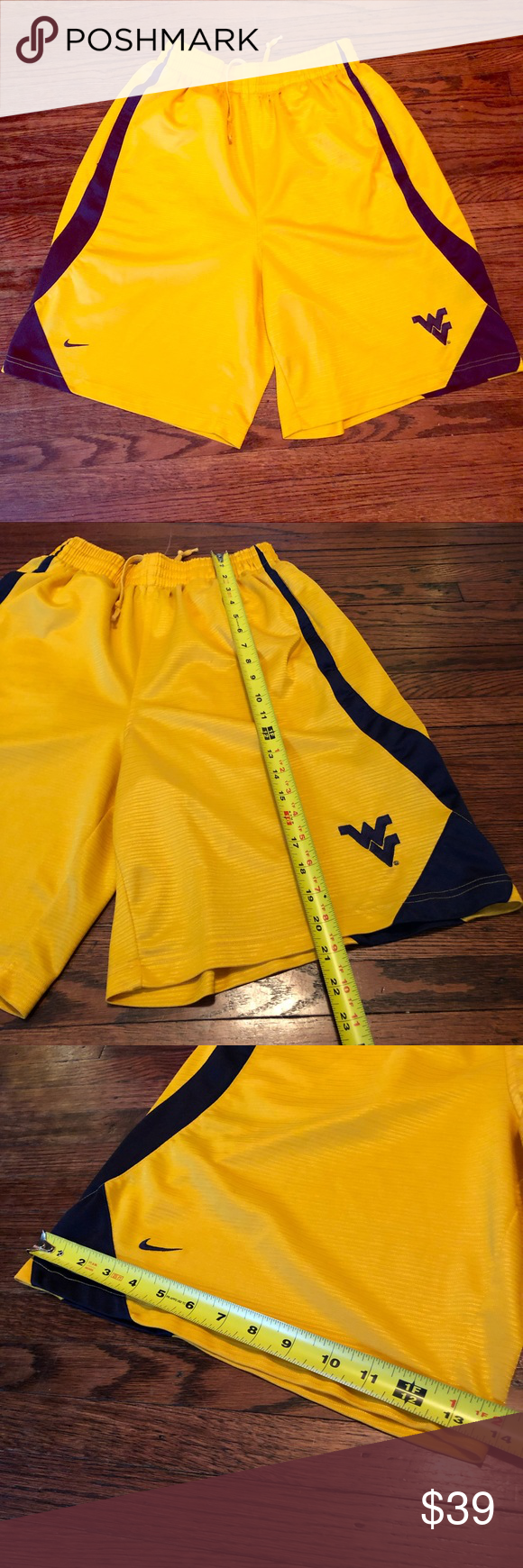 rare NIKE TEAM WVU Mountaineers BASKETBALL SHORTS rare NIKE TEAM West Virginia MountaineersBASKETBALL SHORTS  Color: Old Gold  Size: Men's Small - See photos for measurements  Basketball Shorts. Loose/Baggy Fit. Elastic & drawstring. Embroidered Logos.  Great used condition. Very minor wear shown.  100% Polyester. Nike Shorts Athletic #wvumountaineers