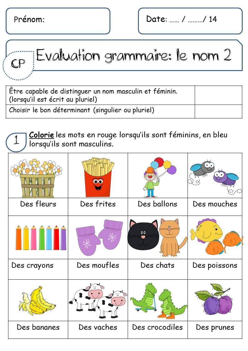 EVALUATION SUR LE NOM | Grammaire, Exercice ce1 et La ...