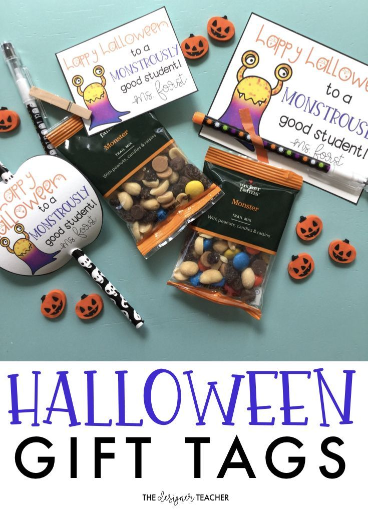 Halloween Gift Tags | Monster Gift Tags | Student Gift Tags These adorable Halloween student gift tags pair perfectly with monster trail mix or any fun item from the Target Dollar Spot. Includes three different tag styles, plus black and white versions!