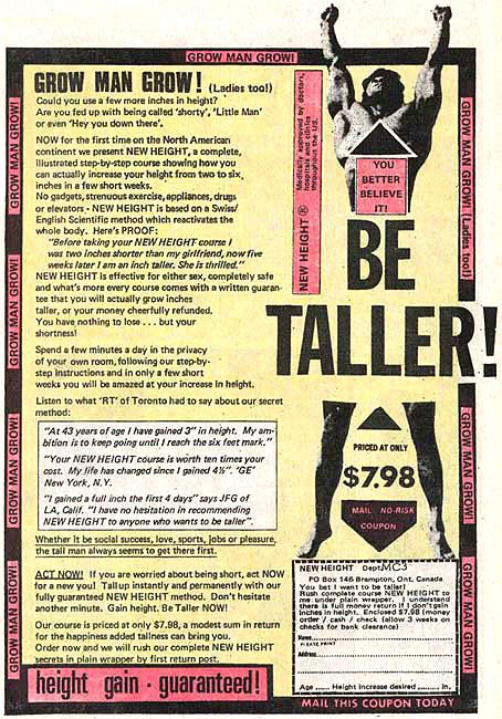 Image result for Grow Man Grow - Be Taller comic ad