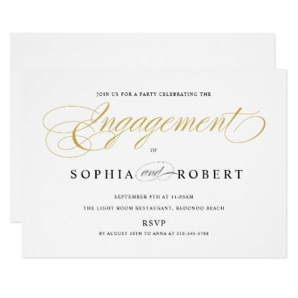 Solid Gold Elegant Calligraphy Engagement Party Card Engagement - engagement party invites templates