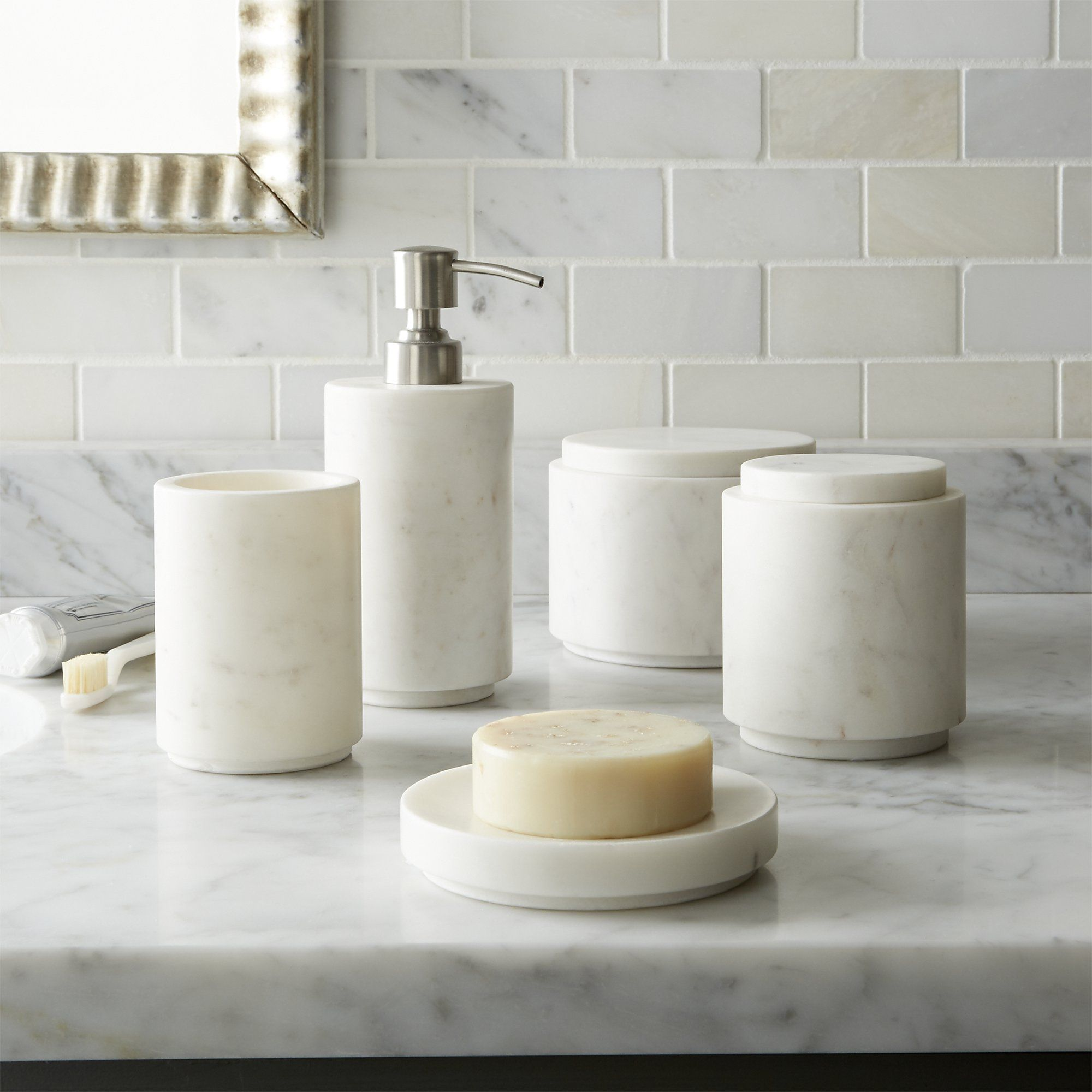 Graydon Marble Bath Accessories | Bath accessories, Crates and Bath