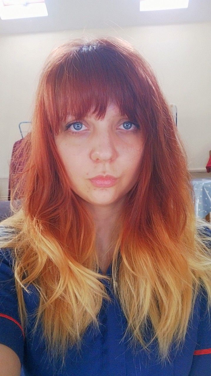 red to blonde ombre hair with fringe hair pinterest