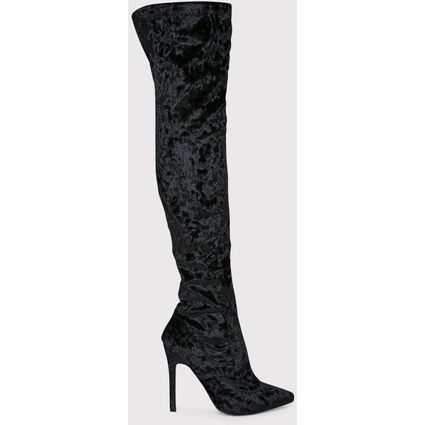Christelle Black Crushed Velvet Thigh High Heeled Boots ($19) ❤ liked on Polyvore featuring shoes, boots, black, heeled boots, over the knee heeled boots, side zip boots, faux-fur boots and thigh high heel boots