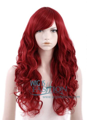 """Long Curly Red Fashion Synthetic Hair Wig;  $24.87;  from Wig Is Fashion;  length is 24""""; characters Ariel"""
