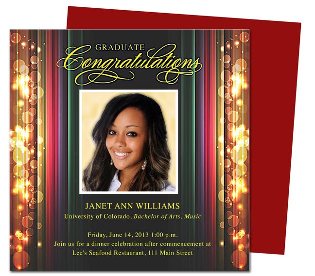 Stage Graduation Party Announcements Templates. Use With Word