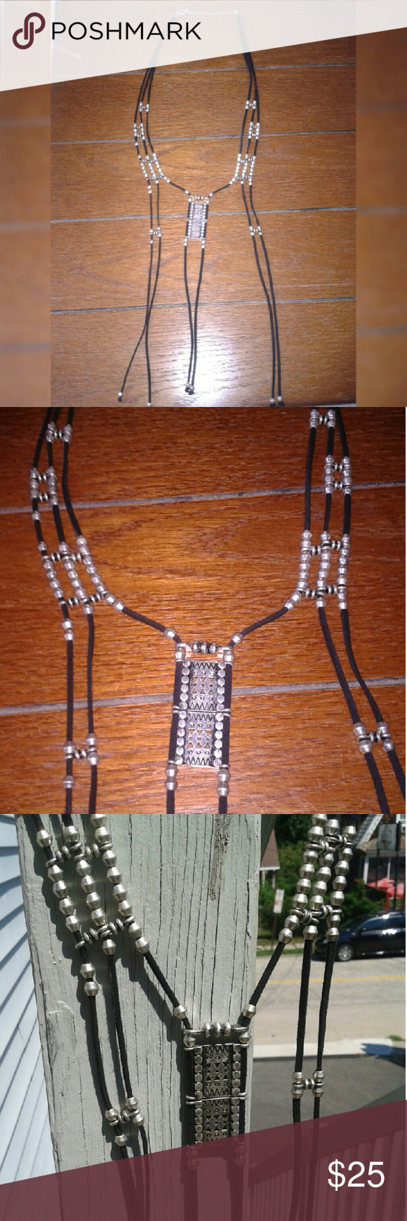 Free People Long Tribal Necklace Long Necklace with Black Suede and Silver Beading. Adjustable clasp at neck. Really beautiful and adds dimension to any outfit. Very Bohemian. Free People Jewelry Necklaces