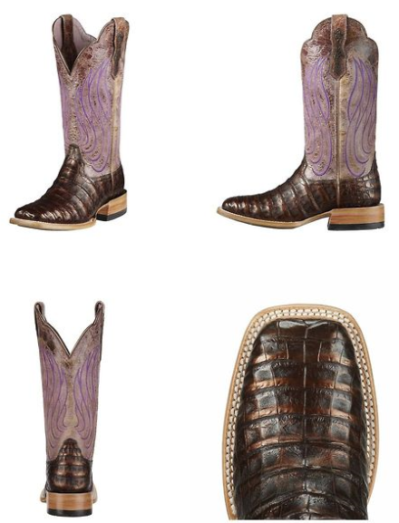 029d4c5aede ❦ Ariat Women's Nitro Caiman Belly Boot - Coppered Chocolate/Violet ...