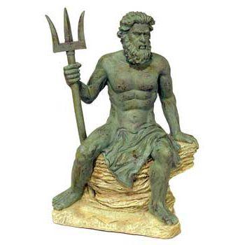 Blue Ribbon Small Neptune Statue Exotic Environments Aquarium Ornament