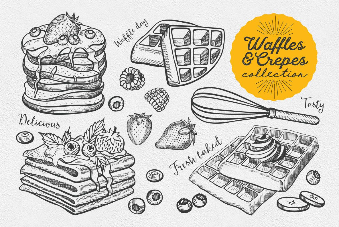 Crepes Dessert Food Illustrations In 2020 Crepes How To Draw