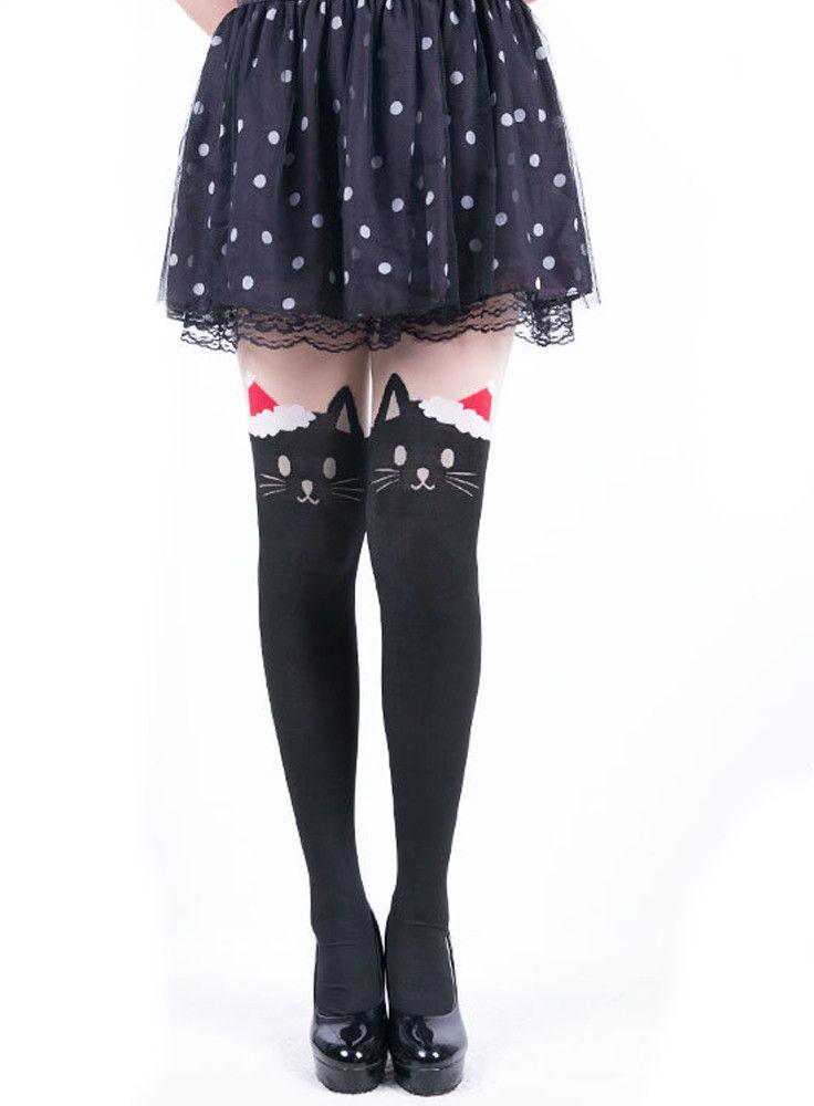 5da4cf26d37eb Japanese Kawaii santa cat tattoo tights   Cosplay :: Lolita Style ...