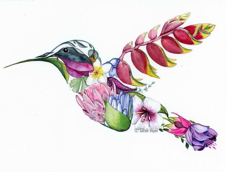 Hummingbird And Flower Tattoo Drawing