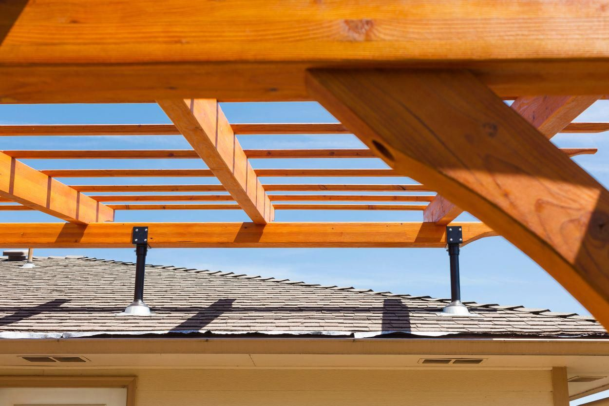 Gallery SkyLift Roof Riser Hardware PergolaWithWisteria