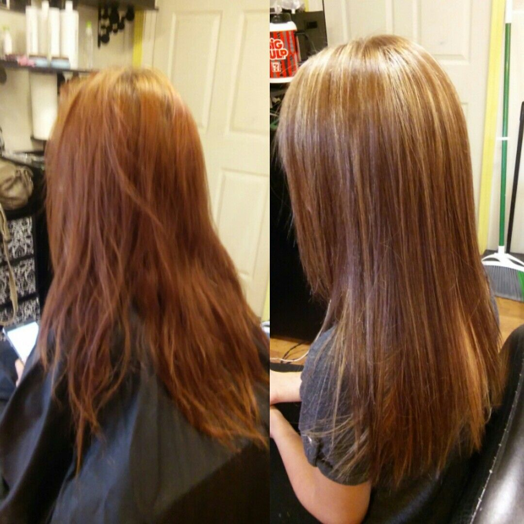 Chocolate brown with blonde foils