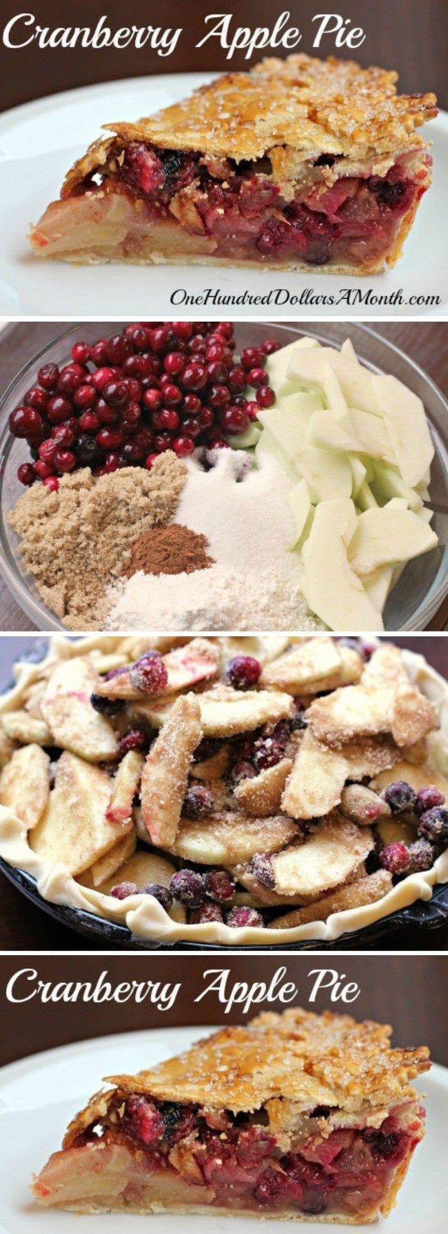 Thanksgiving Dessert Recipes - Cranberry Apple Pie #applepie
