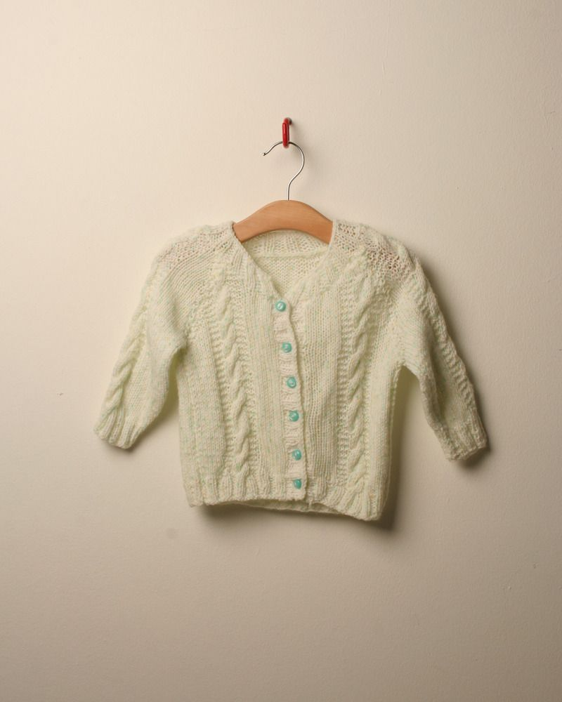 1980s speckle knit cable cardigan from http://www.little-vintage.com/