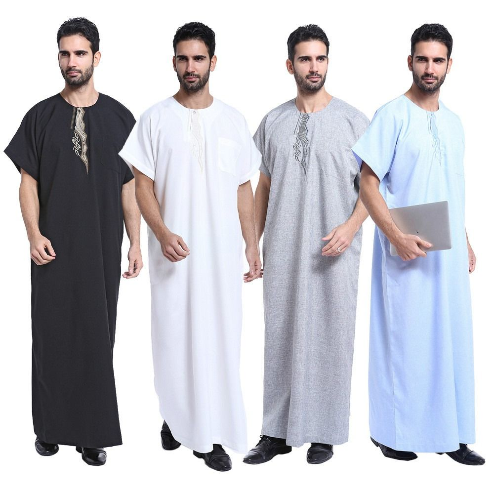 Men Saudi Thobe Jubba Dishdasha Thawb Thoub Muslim Islamic Abaya Kaftan Clothing