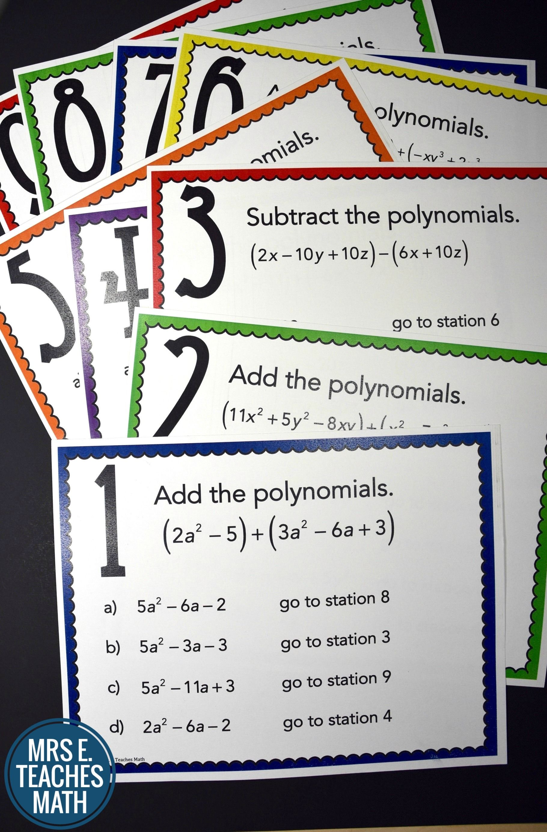 Add and Subtract Polynomials Stations Maze Activity | 8th Grade ...