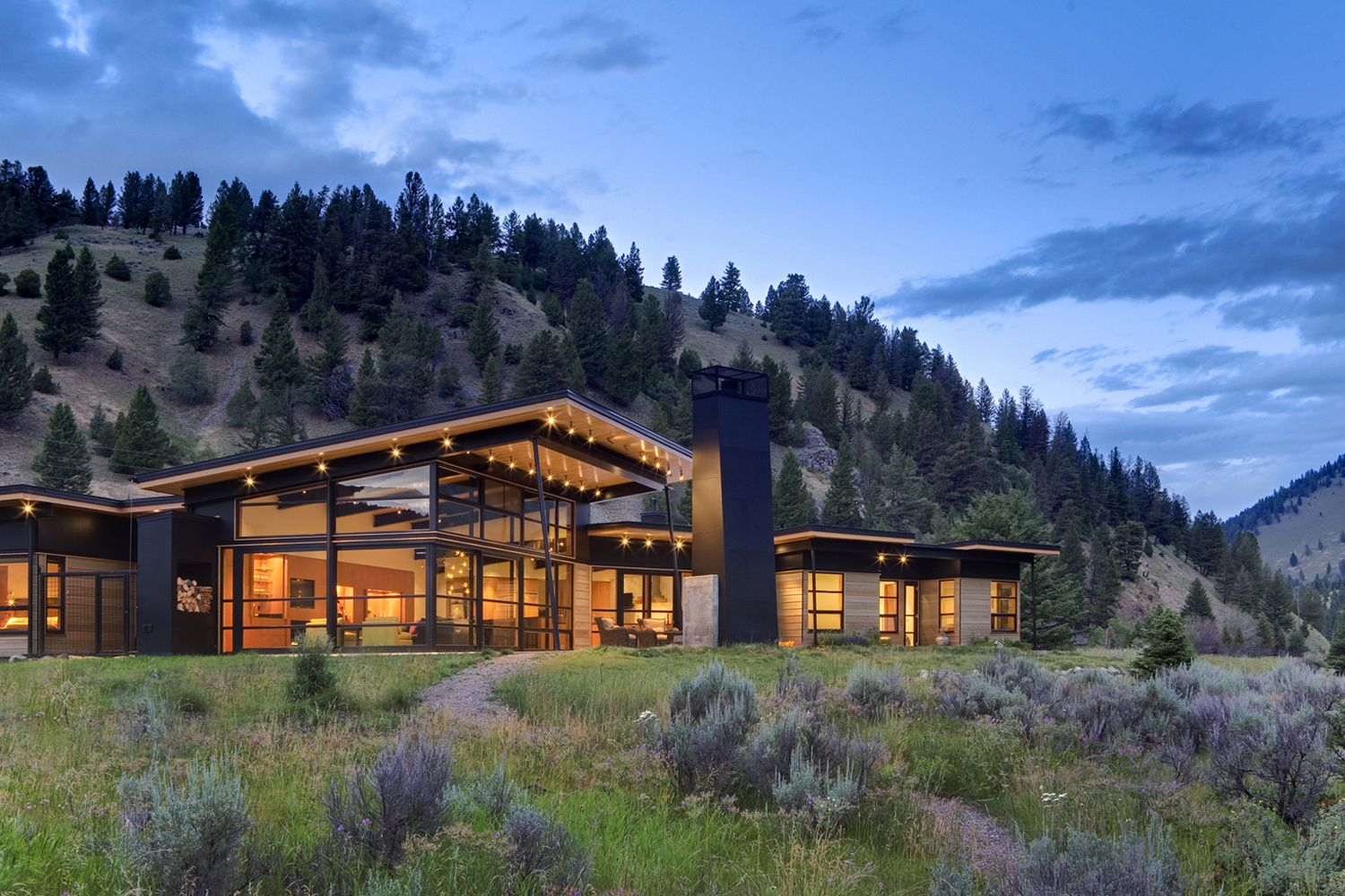 Luxury House Exterior natural modern sustainable luxury house - big sky, montana