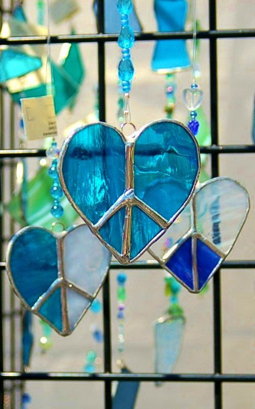 Peace/Love Sign Heart Peace Stained Glass Sun by DianeMarieArt, $14.00