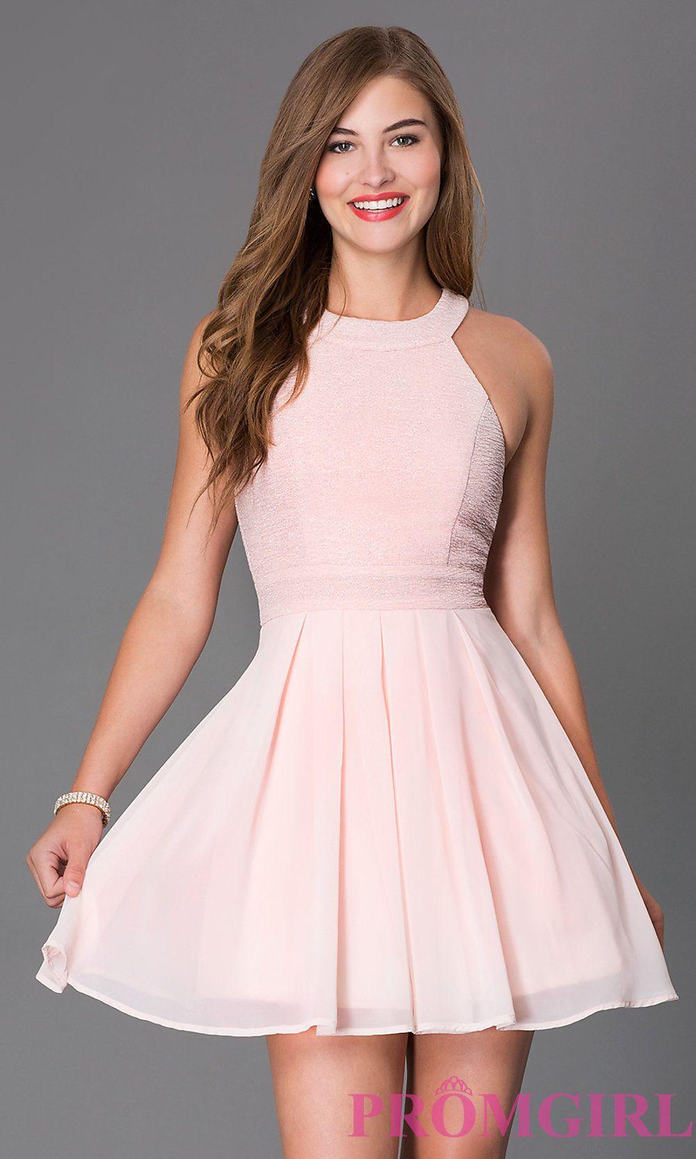 Wedding Prom Short Dresses pink short sleeveless fit and flare party dress bat mitzvah dress