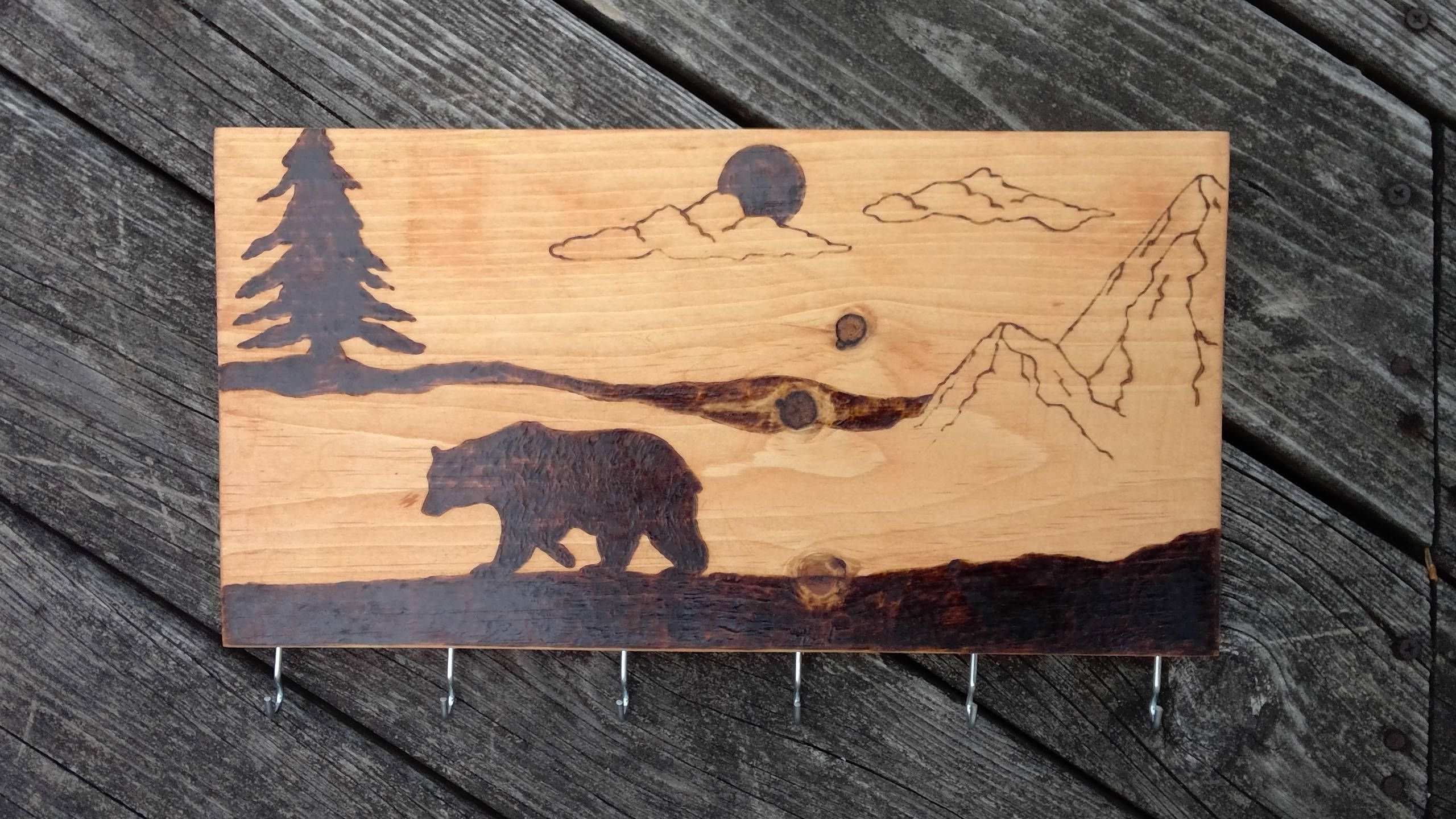 Bear Wood Burned Key Holder By Longmorepyrography On Etsy Maple Stain Wood Burning Wood Projects