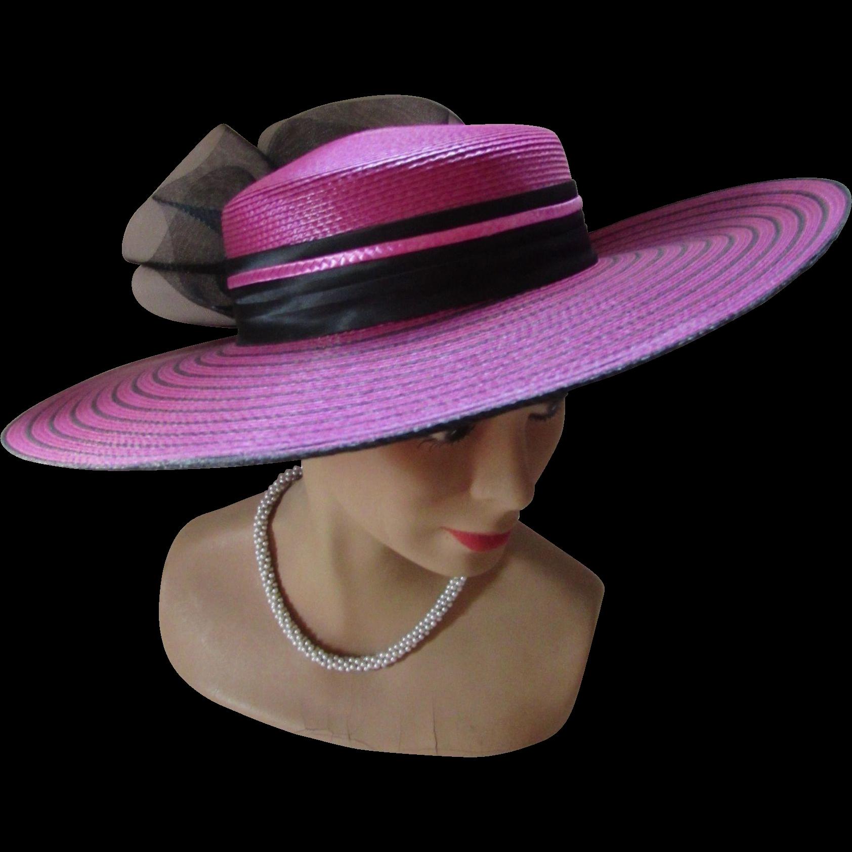 c1b709032 Jaunty Wide Brim Church OR Derby Hat in Stripes of Fuchsia and Black ...
