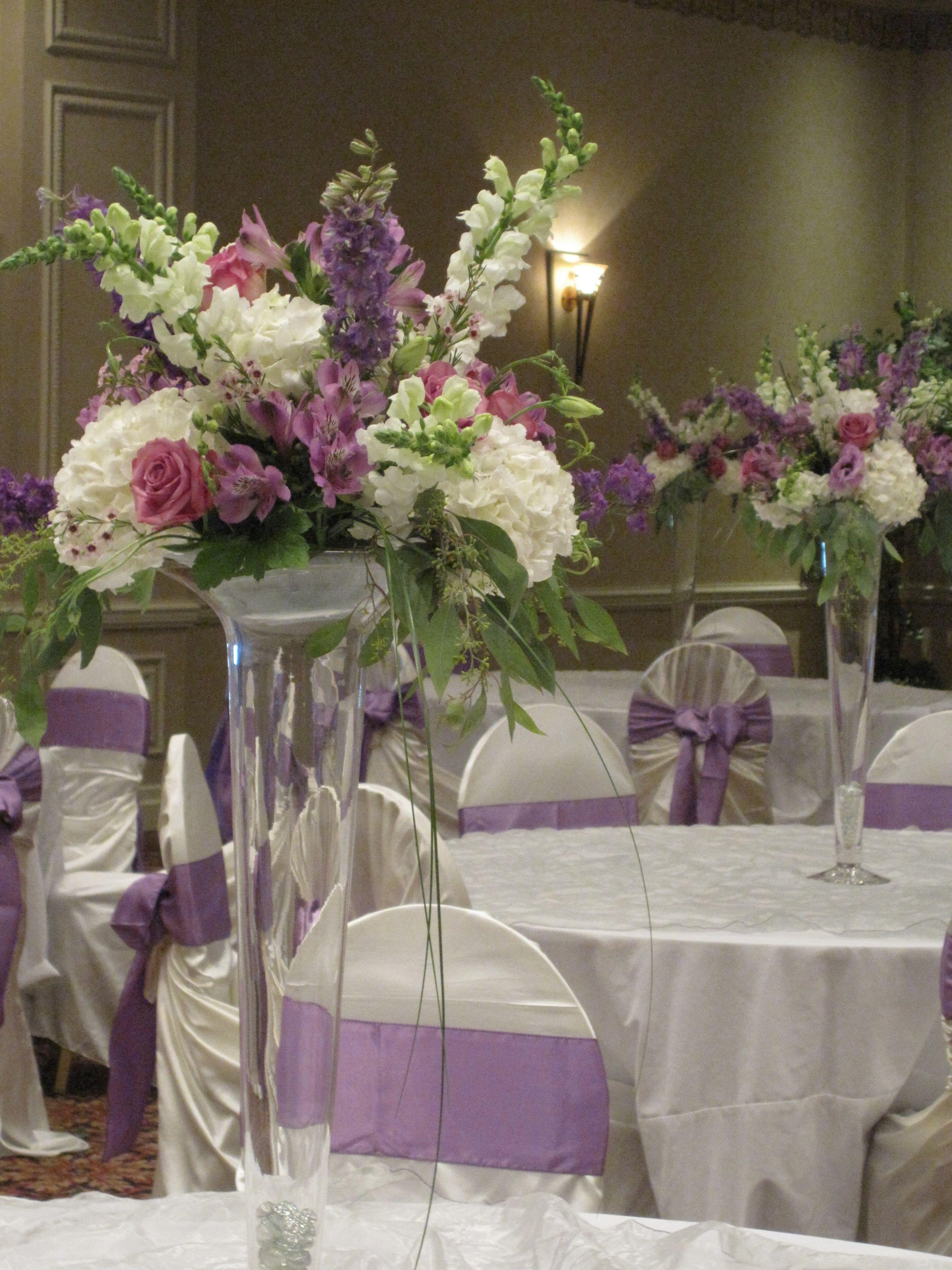 Trumpet vase centerpieces in lavender and white with hydrangea trumpet vase centerpieces in lavender and white with hydrangea snapdragons roses larkspur reviewsmspy