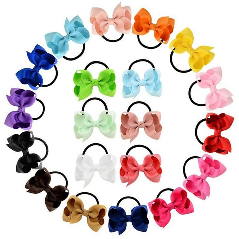"16pcs//Lot 4/"" Inch Grosgrain Colorful Rainbow Alligator Hair Bow Clips Pins"