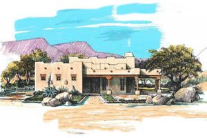 Adobe / Southwestern Exterior - Front Elevation Plan #4-103 - Houseplans.com