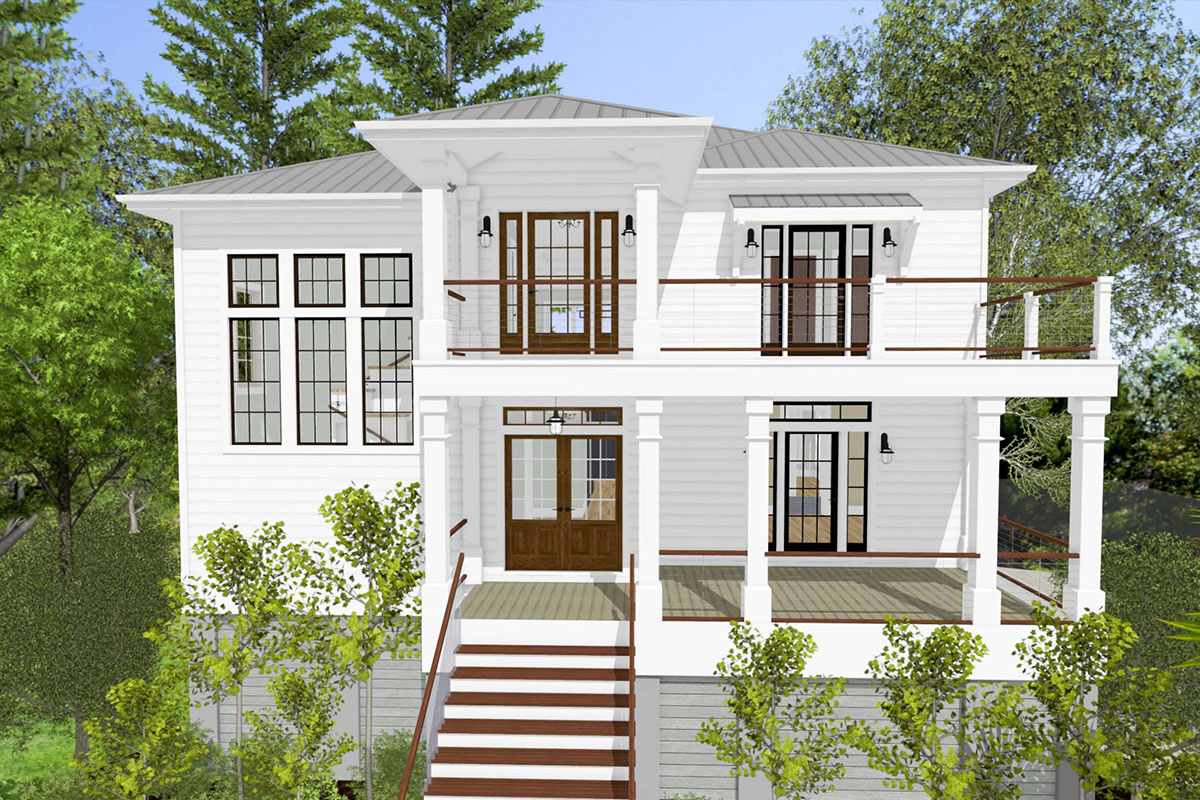 Plan 765019twn 4 Bed Low Country House Plan With Front And Back Double Decker Porches Beach House Flooring Coastal House Plans Beach House Floor Plans