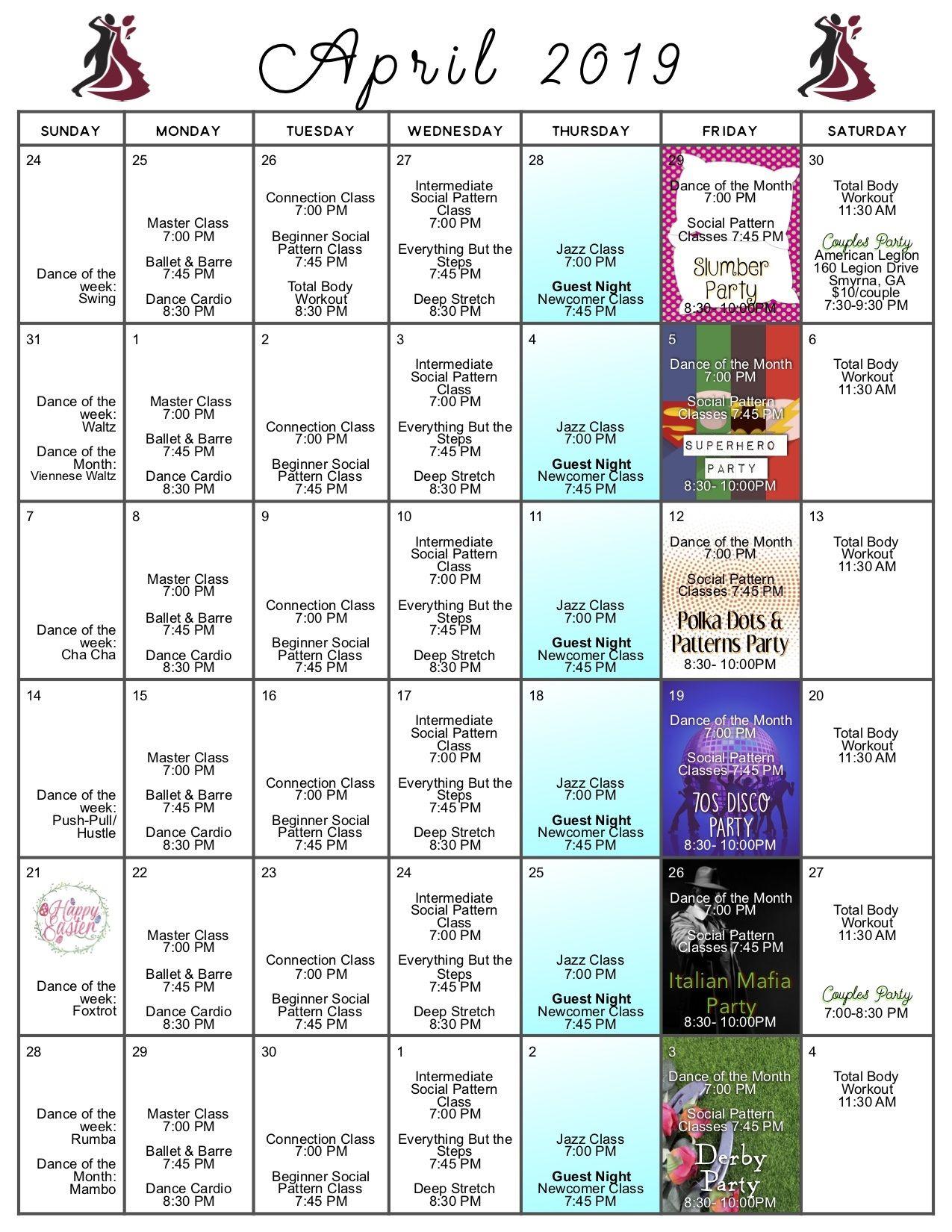 Calendar Celebrity Ballroom Dance Studio Dance Lessons Dance Studio Dance Cardio